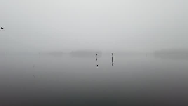 Foggy lake Saimaa scenery, Lappeenranta Finland