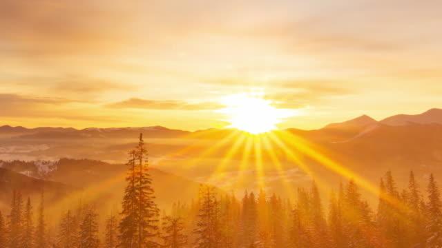 mattina nebbiosa nella foresta delle montagne invernali sullo sfondo del drammatico cielo nuvoloso. timelapse. 4k - aurora video stock e b–roll