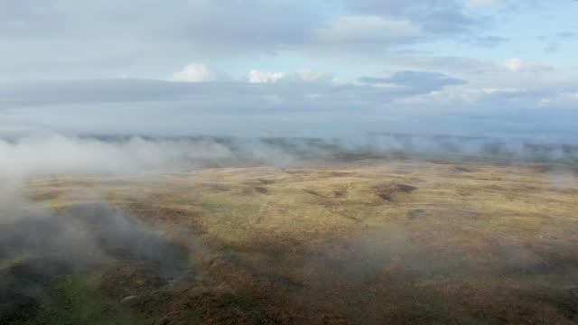 foggy morning over Nebraska Sandhills, aerial view