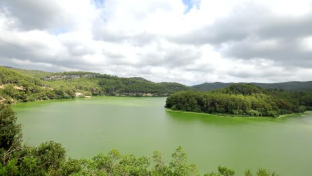 foix reservoir zeitraffer-video im sommer - algen stock-videos und b-roll-filmmaterial