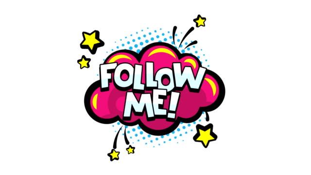 folgen sie mir wort animation für das bloggen, streaming und in den sozialen netzwerken und vlog in internet-medien. comic-sprechblasen mit text verschieben folge mir nach! motion grafik. png plus alpha-kanal - aufkleber stock-videos und b-roll-filmmaterial