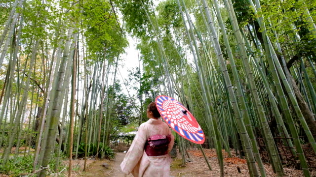 vídeos de stock e filmes b-roll de 4k  follow up shot: a asian woman wearing kimono dress walking through bamboo groves arashiyama and sagano. japanese culture - cidade de quioto