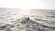 istock SLO MO Following a female open water swimmer 1030939282