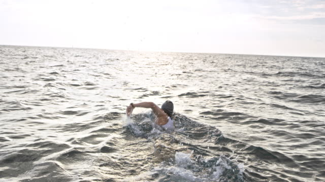 SLO MO Following a female open water swimmer