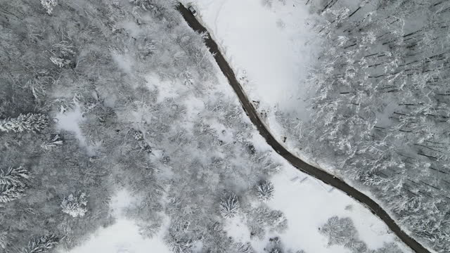 Following Country Road in Winter From Directly Above Following Country Road in Winter From Directly Above. fork stock videos & royalty-free footage