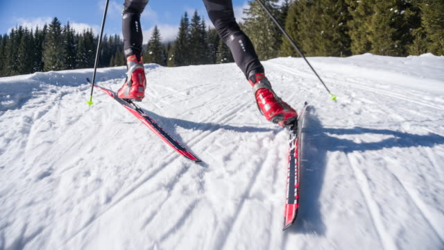 Following cross country skier video