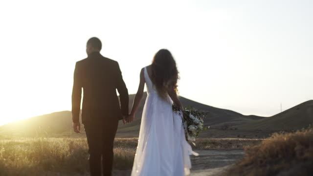 日没の乾いた草のフィールドで次の結婚されていたカップル - 結婚式点の映像素材/bロール