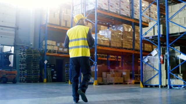 Following Shot of a Warehouse Worker Wearing Hard Hat Walking Through Rows of Storage Racks.