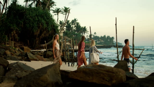 Following Shot of Three Beautiful Girls and One Handsome Man Walking Along the Beach. In the Background Green Forest with Palm Trees, Fishing Stilts and Sea with Waves. Following Shot of Three Beautiful Girls and One Handsome Man Walking Along the Beach. In the Background Green Forest with Palm Trees, Fishing Stilts and Sea with Waves. Shot on RED Epic 4K UHD Camera. sri lanka stock videos & royalty-free footage