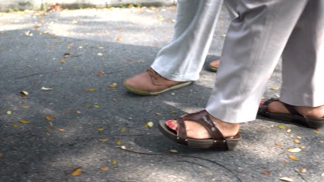 following side view: foot of senior husband walking besides wife in park - capelli grigi video stock e b–roll