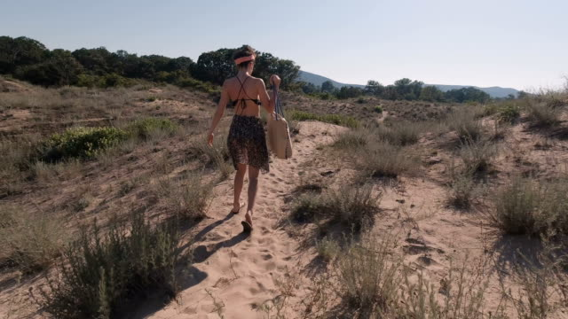 following youg woman walking on sandy beach carrying beach bag - menschlicher rücken stock-videos und b-roll-filmmaterial