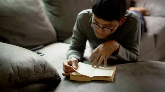 font view of a handsome young man in casual clothes and eyeglasses reading a book while lying on the couch at home