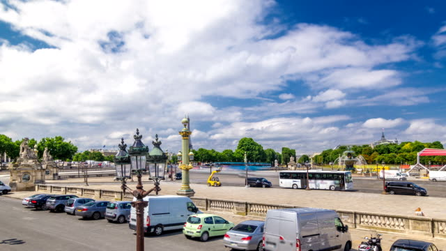 Fontaines de la Concorde and Luxor Obelisk at the center of Place de la Concorde timelapse hyperlapse in Paris, France video