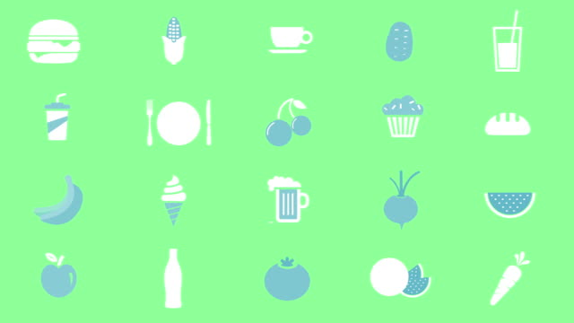 food and dinks icons animation - icona posate video stock e b–roll