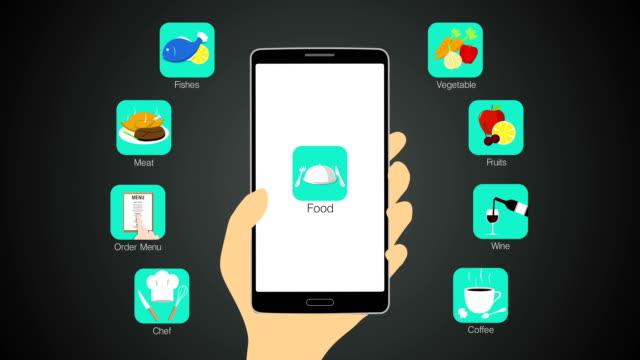 cibo funzione dell'applicazione per smartphone, cellulare (inclusi alpha - icona posate video stock e b–roll
