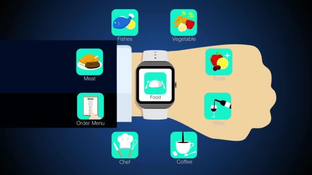 cibo applicazione meeting per smartwatch, telefoni cellulari (inclusi alpha - icona posate video stock e b–roll
