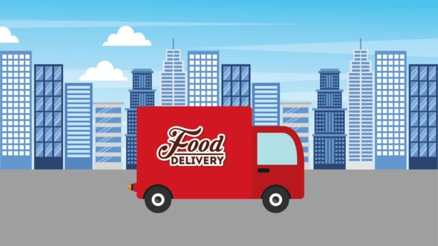 food delivery online - clip art video stock e b–roll