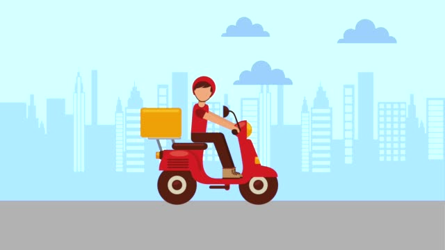 food delivery online man in motorcycle hands shopping bag food delivery animation hd clip art stock videos & royalty-free footage