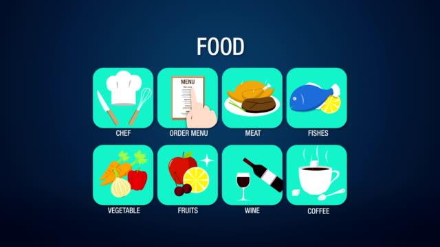cibo set di simboli 3d (inclusi alpha - icona posate video stock e b–roll