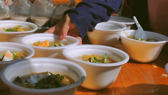 Food In Foam Bowl At Street Food Shot On Smart Phone Slow Motion