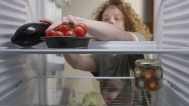 Food in the refrigerator Speed up time lapse video of woman putting groceries in the refrigerator. fridge stock videos & royalty-free footage
