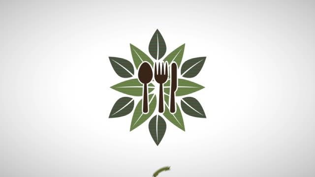 vídeos de stock, filmes e b-roll de comida orgânica desenho, animação de vídeo - insígnia