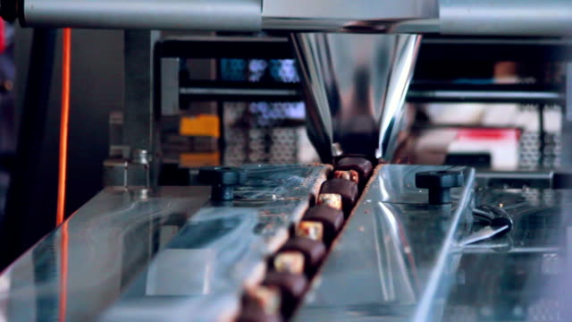 Food packaging line. Sweet food production line. Food processing plant. Packaging process of cheese rods. Food factory. Chocolate desserts on conveyor belt at chocolate factory. Food industry video