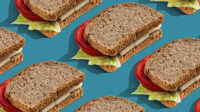 food pattern on color background. - pop art video stock e b–roll