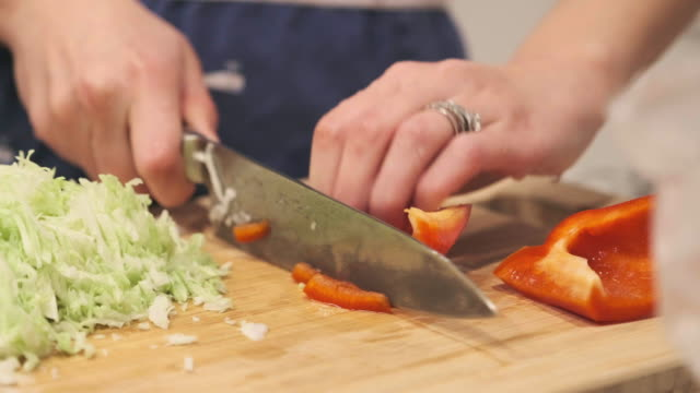 Food Preparation Cutting Vegetable Cabbage and Bell Pepper video