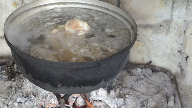 Food Taking broth with ladle from the saucepan. boiled stock videos & royalty-free footage