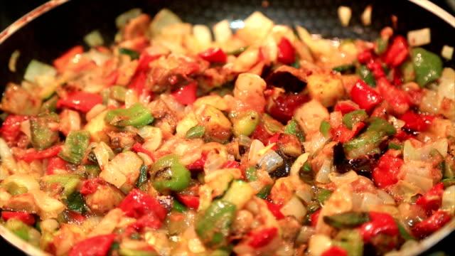 野菜料理の異なる種類の食品 ビデオ