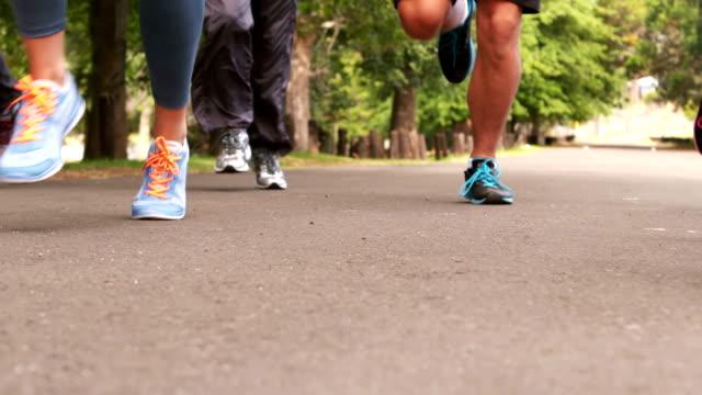Foot of marathon runners video