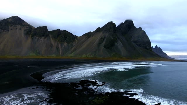 Footage - Aerial Shot of Black Sand Beach in Iceland video
