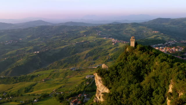 Footage - Aerial View of Guaita Tower in San Marino