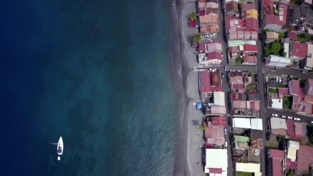4K Footage Aerial View of the Saint Pierre Coastline, Martinique Island