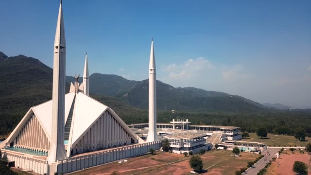 4K Footage Aerial View to the White Faisal Mosque in Islamabad, Pakistan