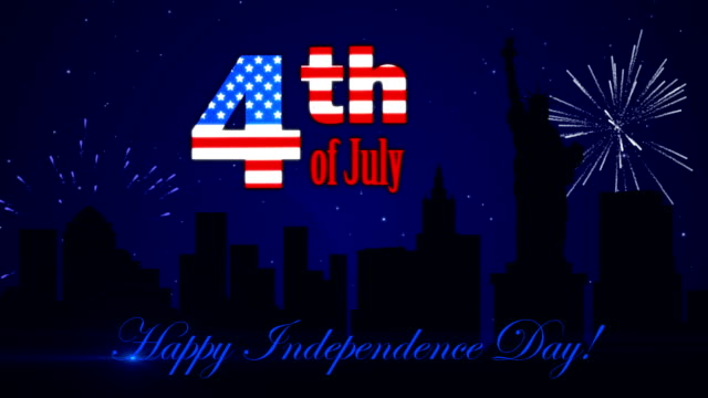 Footage Happy Independence Day with a fireworks on the dark blue background video