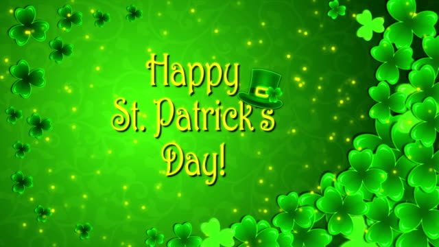 Footage Happy St. Patrick's Day with a shamrocks on the green background video