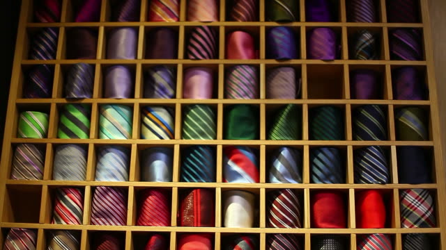 Footage of a closet full of colorful ties video