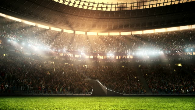 footage of a professional soccer stadium while the sun shines - football field stock videos & royalty-free footage