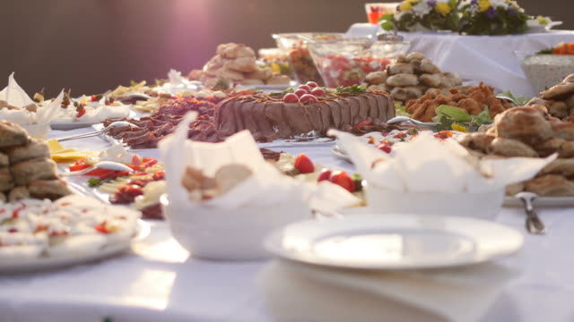 footage of a swedish table waiting for the guests to approach - antipasto video stock e b–roll