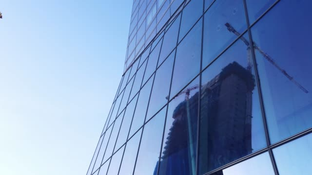 4K footage of an office building glass facade