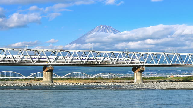 Footage of Bullet train and mount Fuji