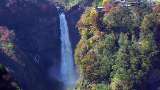 4K footage of Kegon Falls in autumn at Nikko video