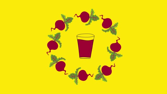 Footage of loop animation of hand drawn cartoon illustration with beet juice in glass vegetable wreath from beetroot rotating around on yellow chroma key