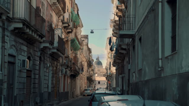 footage of old tenements in catania. - balcone video stock e b–roll