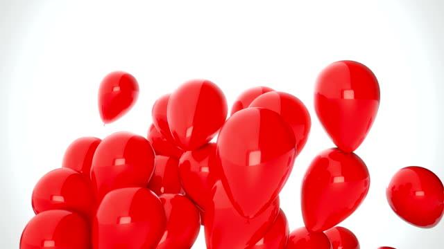 3d cgi bilder av röda ballonger flyger över vit bakgrund. perfekt animation för helgdagar och fester - röd bildbanksvideor och videomaterial från bakom kulisserna