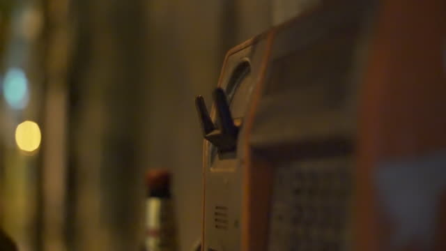 Footage of the old street telephone.