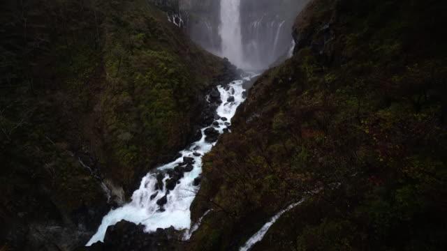 4K footage planing of Kegon Falls in autumn at Nikko video