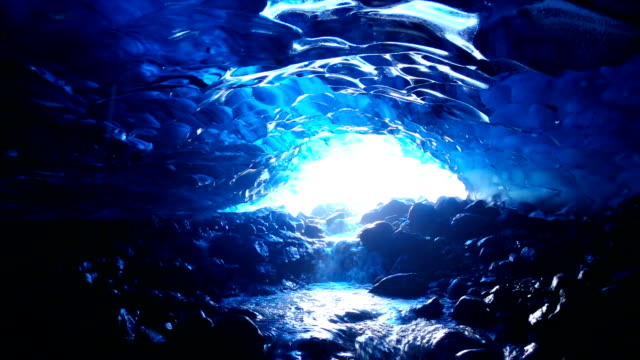 Footage - Water Running under the Ice Cave in Iceland Footage - Water Running under the Ice Cave in Iceland cave stock videos & royalty-free footage